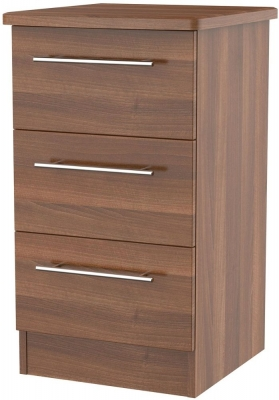 Clearance - Sherwood Noche Walnut 3 Drawer Bedside Cabinet - New - FS1188