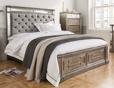 Clearance - Vida Living Ophelia 5ft King Size Grey Mirrored Bed - New - FS1184