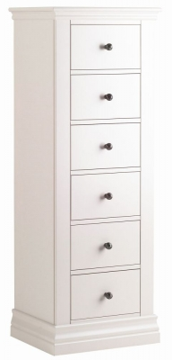 Clearance - Corndell Annecy Cotton Painted 6 Drawer Tallboy Chest - New - E-57