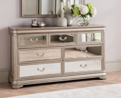 Clearance - Vida Living Jessica Champagne Mirrored 3+4 Drawer Dressing Chest - New - FSS3302