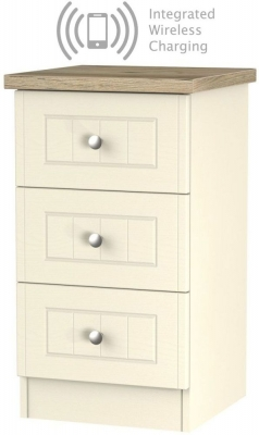 Clearance - Vienna Cream Ash with Bordeaux Oak Top 3 Drawer Bedside Cabinet with Integrated Wireless Charging - New - FS1214