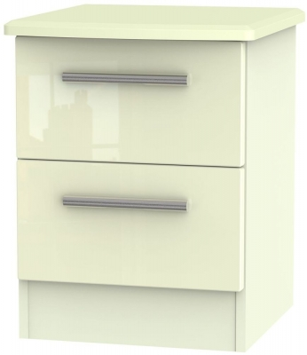 Knightsbridge High Gloss Cream 2 Drawer Locker Bedside Cabinet - CL-1090