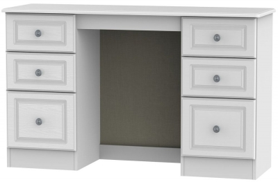 Clearance Pembroke White Dressing Table - Kneehole Double Pedestal - 2227