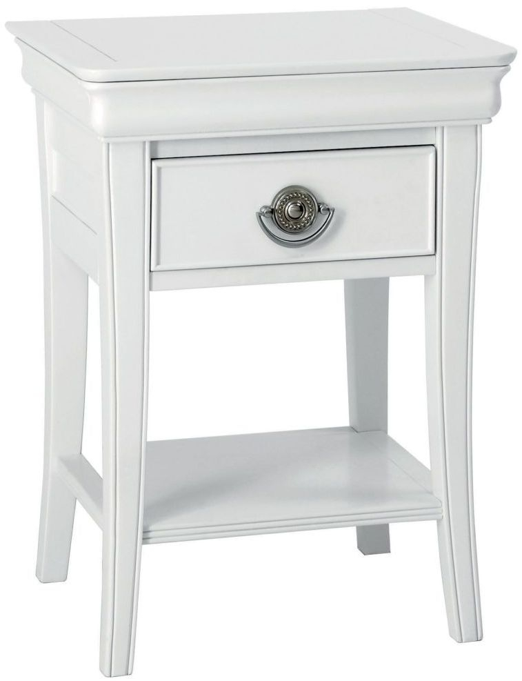 Clearance Half Price - Bentley Designs Chantilly White 1 Drawer Bedside Cabinet - New - D067