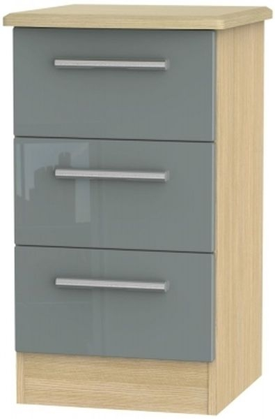 Clearance Half Price - Knightsbridge 3 Drawer Bedside Cabinet - High Gloss Grey and Light Oak - New - D080