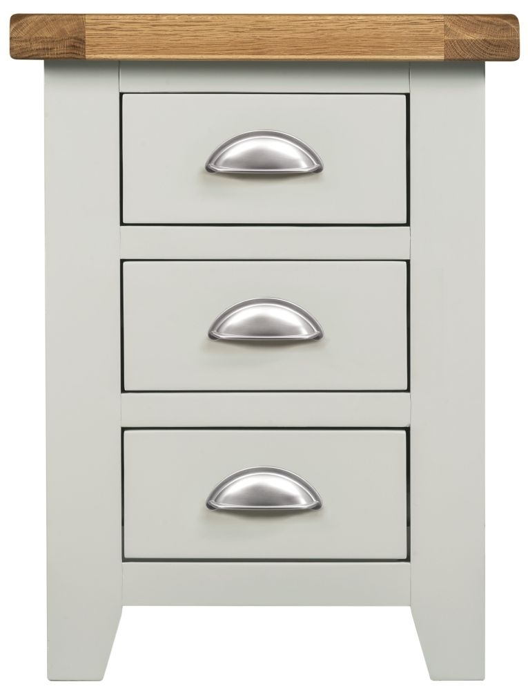 Clearance Half Price - Lundy Grey 3 Drawer Bedside Cabinet - New - D012