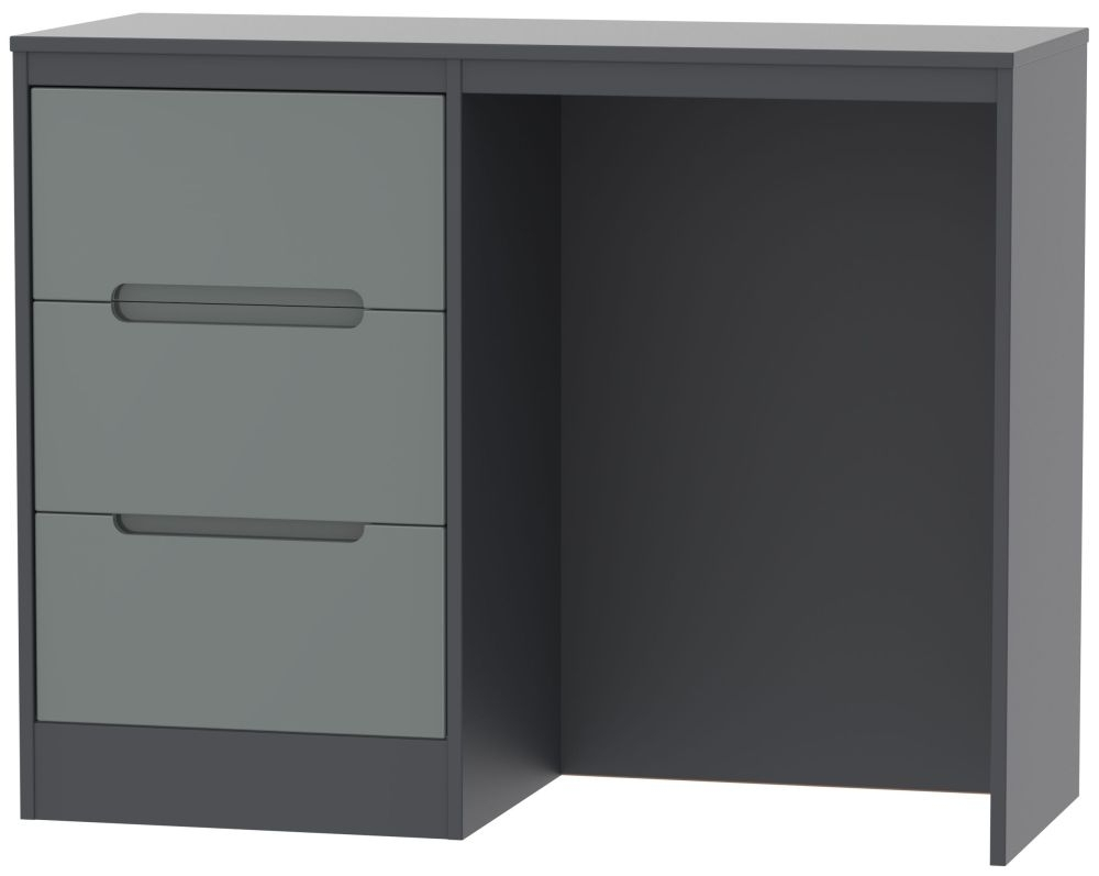 Clearance Half Price - Monaco Single Pedestal Dressing Table - High Gloss Grey and Graphite - New - D087