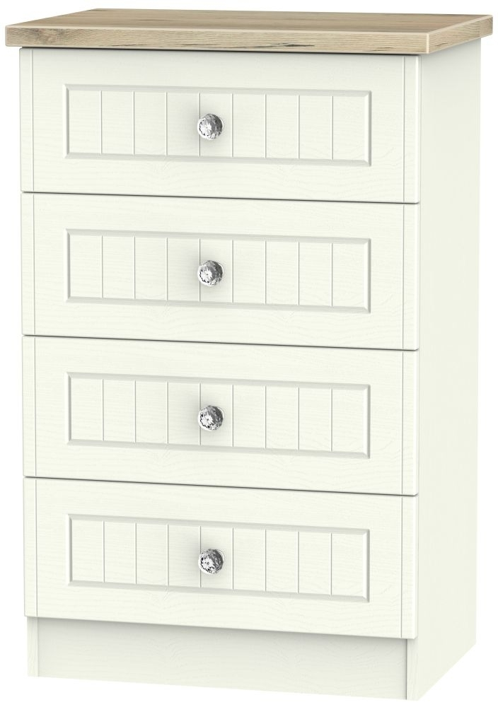 Clearance Half Price - Rome 4 Drawer Midi Chest - Bordeaux Oak and Cream Ash - New - D070