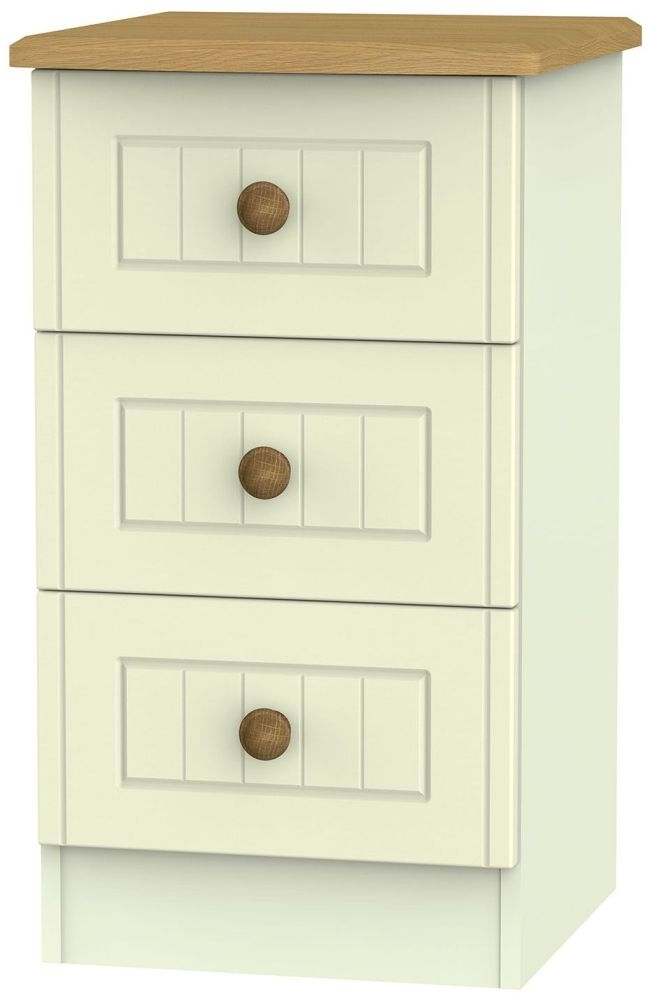 Clearance Half Price - Warwick Cream and Oak 3 Drawer Bedside Cabinet - New - D053