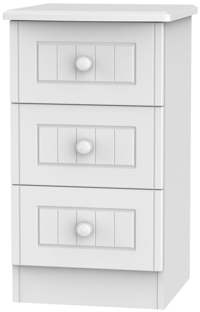 Clearance Half Price - Warwick White 3 Drawer Bedside Cabinet - New - D098