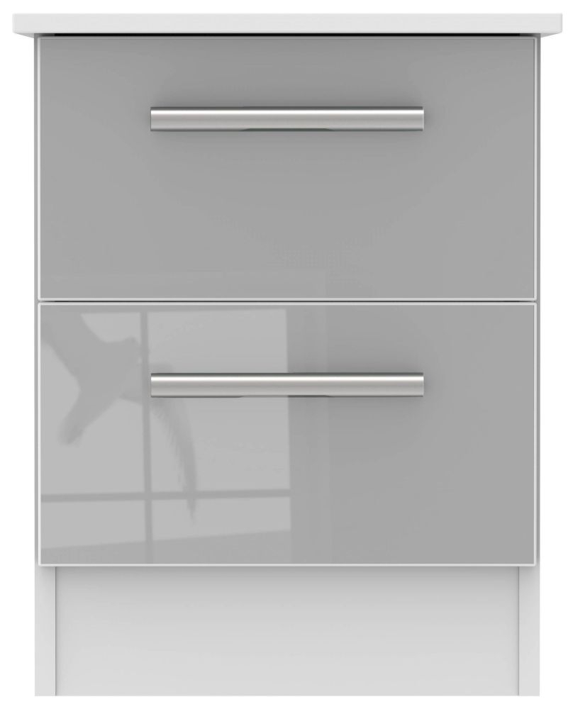 Clearance - Contrast 2 Drawer Bedside Cabinet - High Gloss Grey and White - New - FS0050