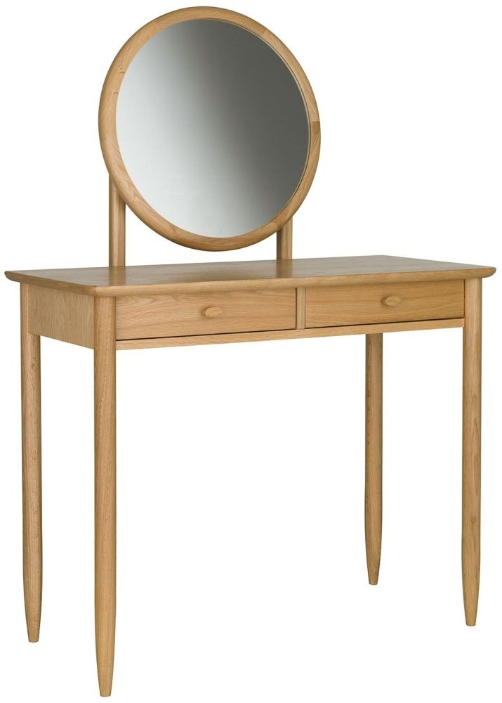 Clearance - Ercol Teramo Oak Dressing Table and Mirror - New - FS0013