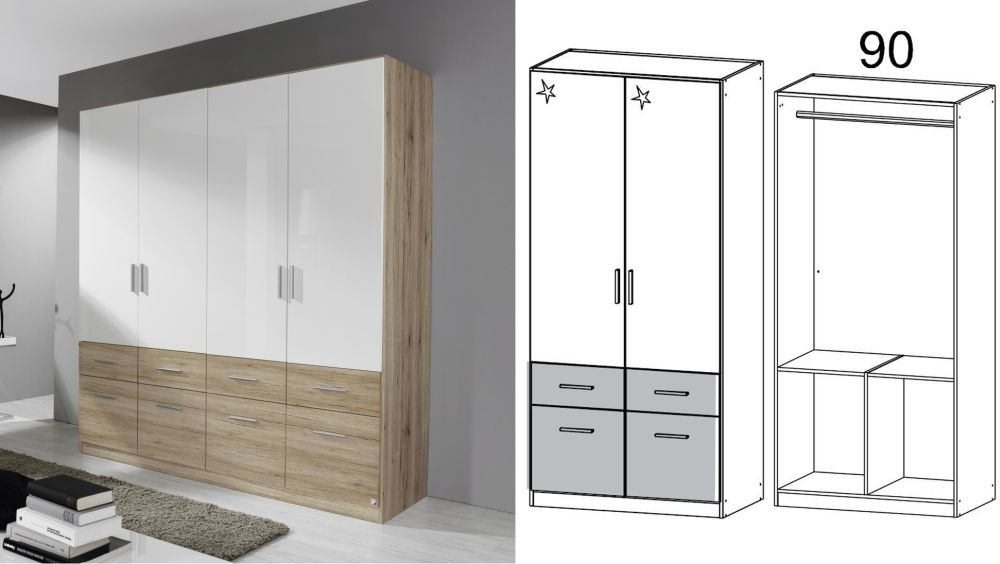 Clearance - Rauch Celle Extra 2 Door 4 Drawer Combi Wardrobe in Sonoma Oak and High Gloss White - New - FS0007