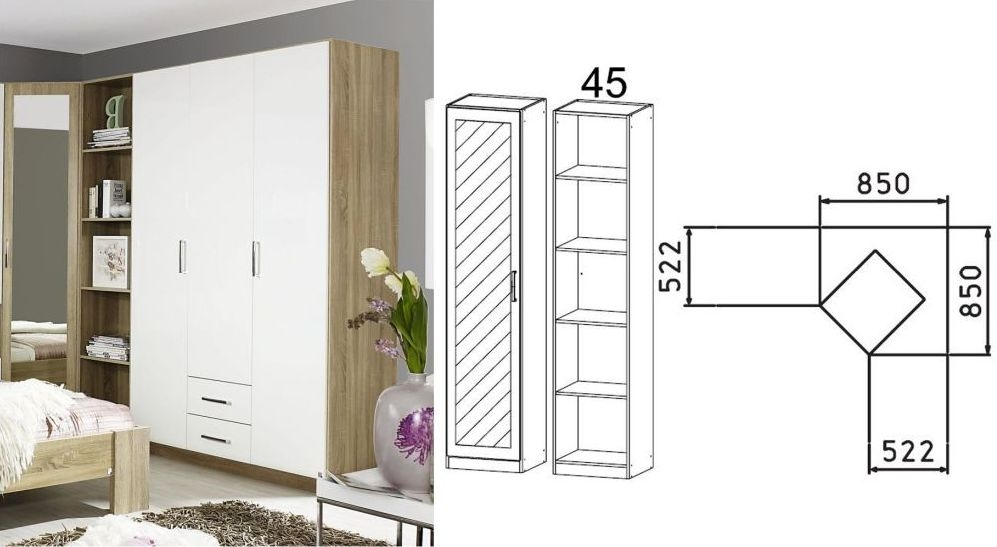 Clearance - Rauch Samos 1 Mirror Door Corner Wardrobe in Sonoma Oak and High Gloss White - New - FS0004