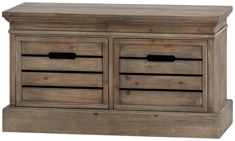 Clearance Half Price - Hill Interiors Brooklyn Distressed Pine 2 Drawer Low Chest - New - 420