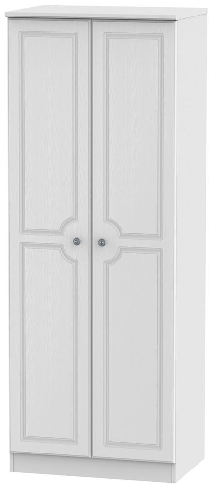 Clearance Half Price - Pembroke White 2 Door Tall Plain Wardrobe - New - FS204
