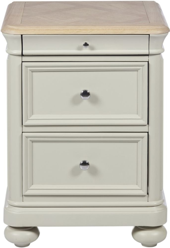 Clearance Half Price - Palmdale Bedside Cabinet - Oak and Grey - New - 1178