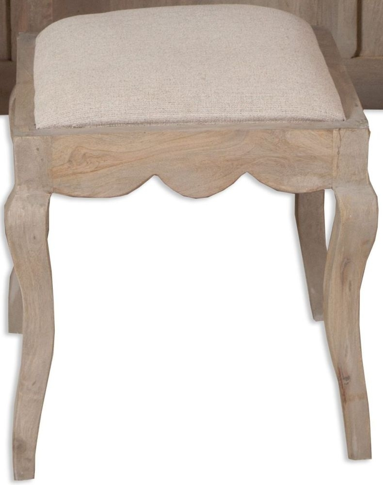 Clearance Half Price - Calais Grey Washed French Style Dressing Stool - New - 4052