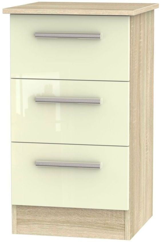 Clearance - Contrast High Gloss Cream and Bardolino 3 Drawer Bedside Cabinet - New - A-138