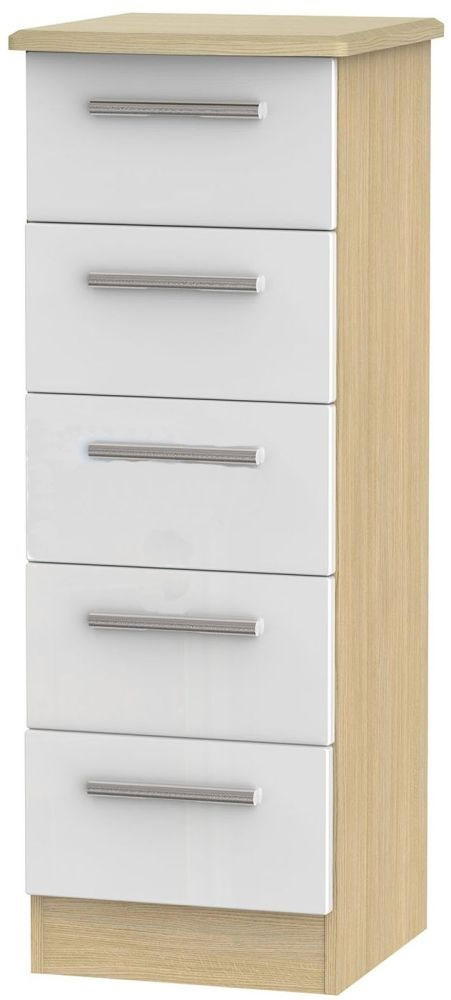 Clearance - Knightsbridge White and Light Oak 5 Drawer Tall Chest - New - A-151