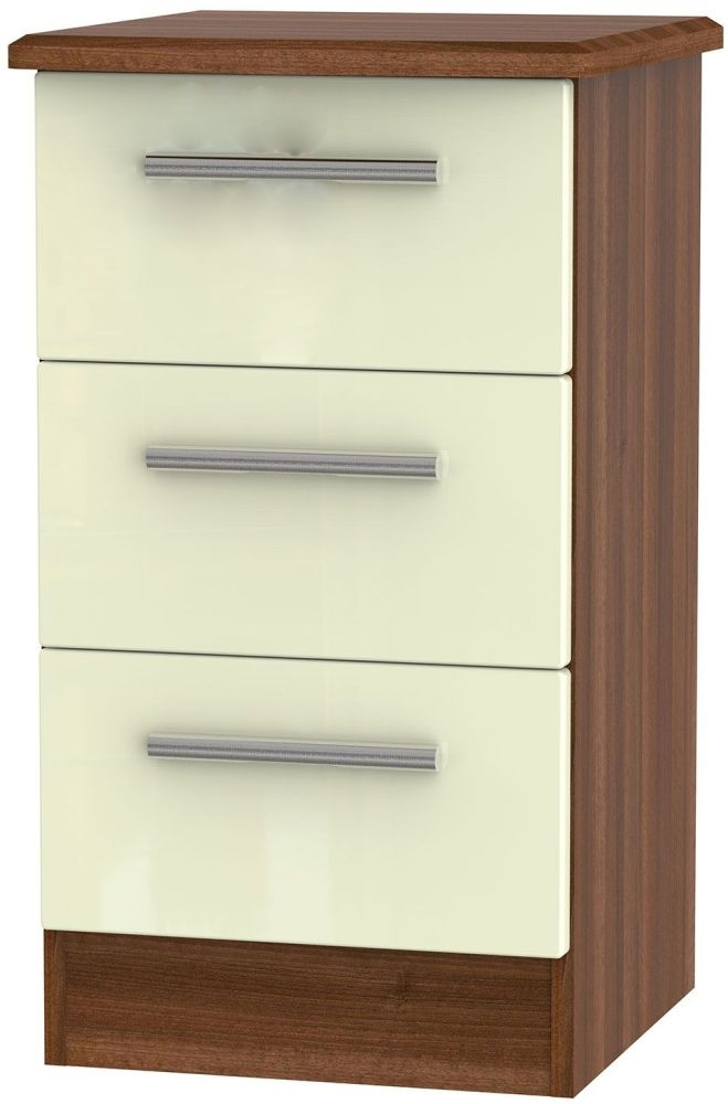 Clearance - Knightsbridge Cream and Noche Walnut 3 Drawer Bedside Cabinet - New - A-164