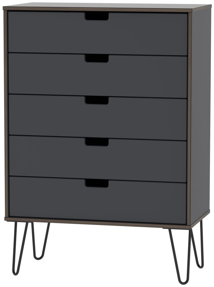 Clearance - Shanghai Graphite 5 Drawer Chest with Hairpin Legs - New - A-148