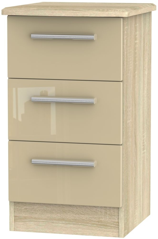 Clearance - Knightsbridge High Gloss Mushroom and Bardolino 3 Drawer Bedside Cabinet - New - FS527