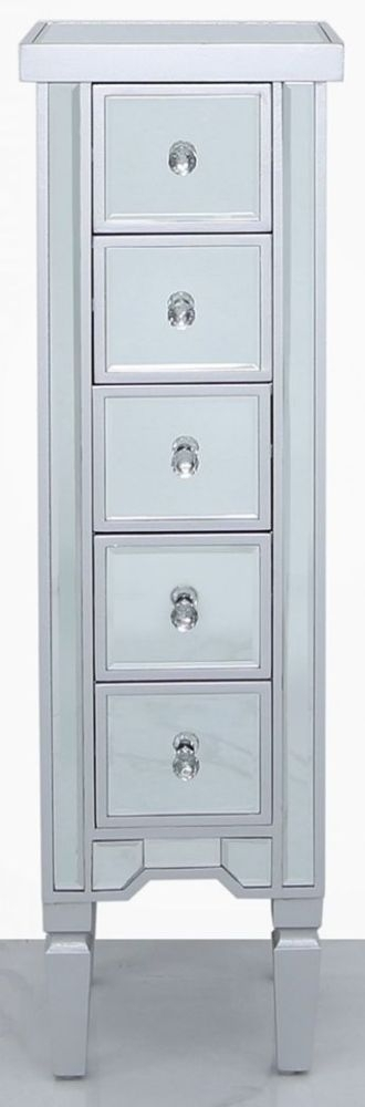 Clearance - Wengen Silver Trim Mirrored 5 Drawer Tallboy Chest - New - E-19