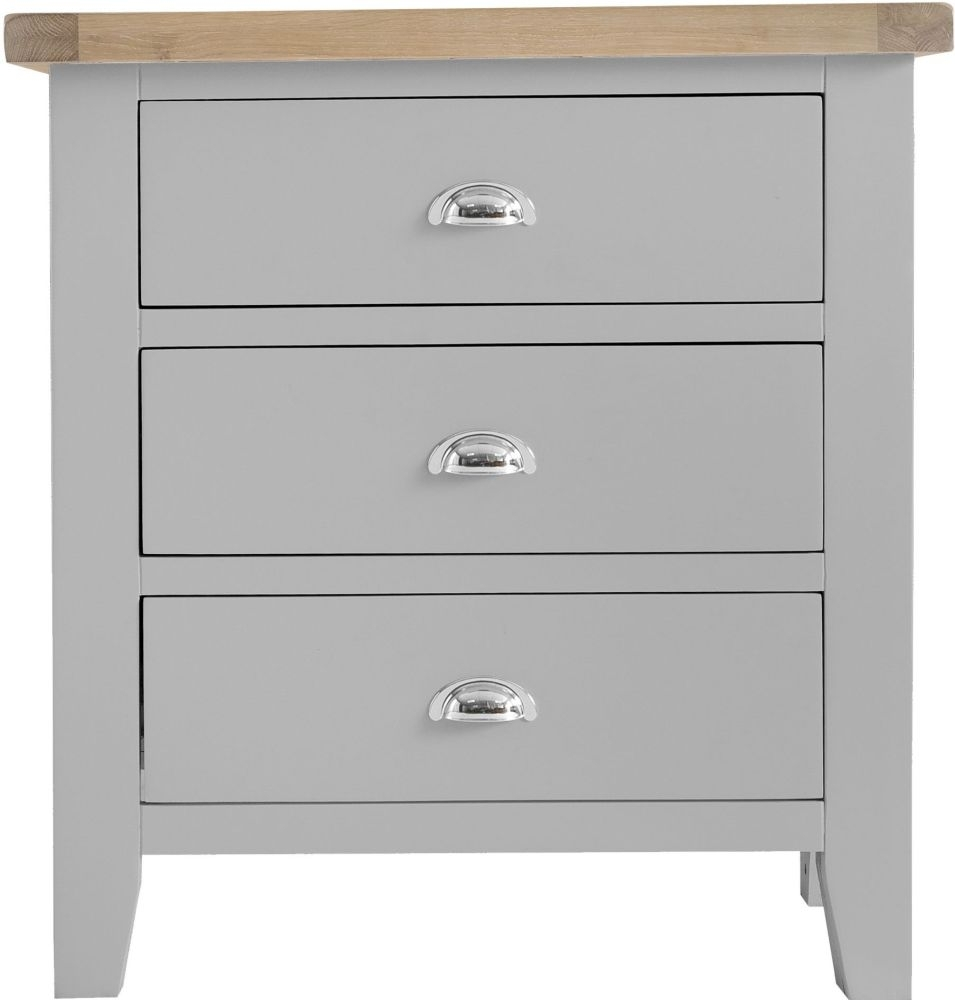 Clearance - Hampstead Oak and Grey Painted 3 Drawer Chest - New - E-181