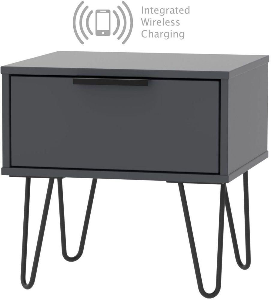 Clearance - Hong Kong 1 Drawer Bedside Cabinet and Integrated Wireless Charging - Graphite with Hairpin Legs - New - E-380