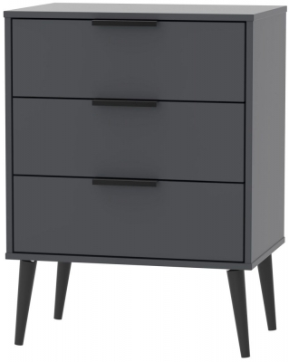 Clearance - Hong Kong 3 Drawer Midi Chest - Graphite with Wooden Legs - New - E-382
