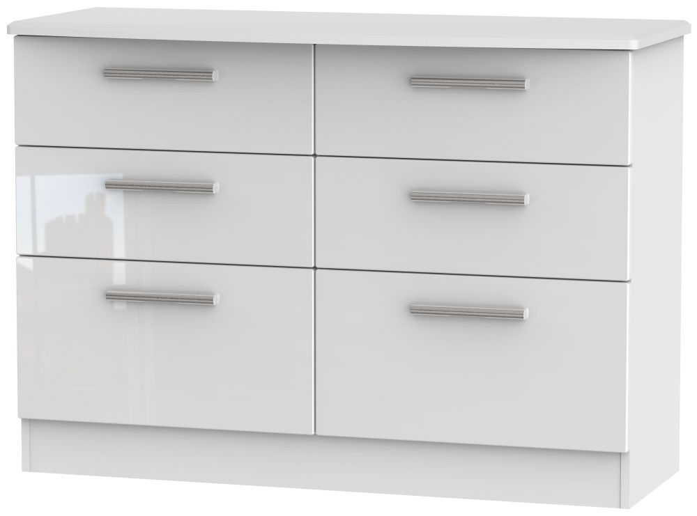 Clearance - Knightsbridge High Gloss White 6 Drawer Midi Chest - New - E-400