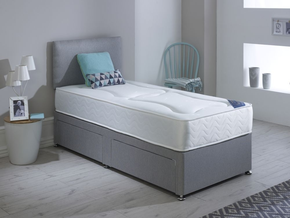 Clearance - Dura Beds Roma Deluxe Orthopaedic Platform Top Divan 3ft Single Bed - New - FS1073