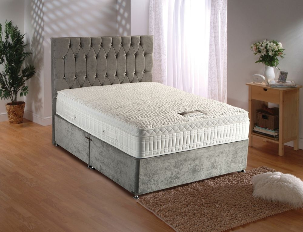 Clearance - Dura Beds Silver Active 2800 Pocket Spring Deluxe Platform Top Divan 5ft King Size Bed - New - FS1147
