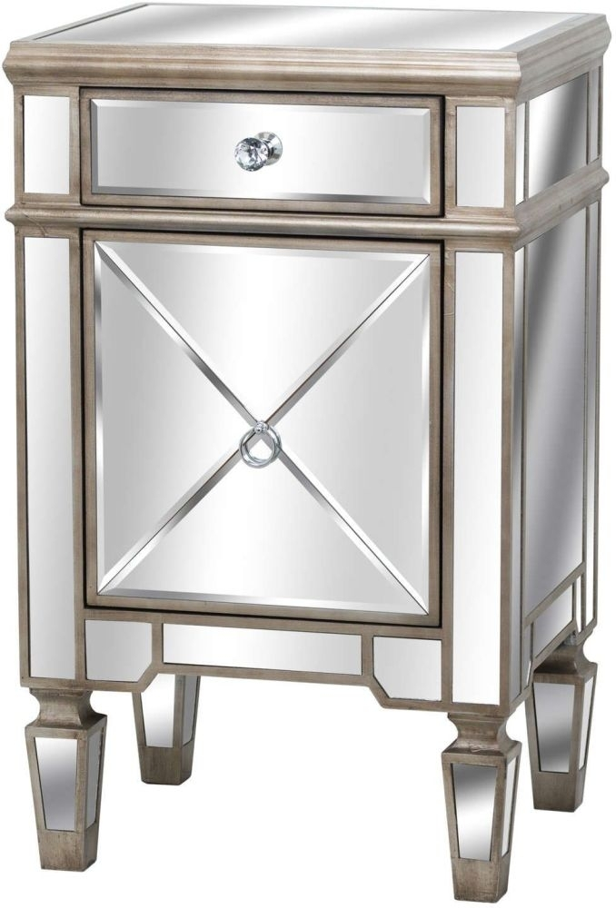 Clearance - Hill Interiors Belfry 1 Door 1 Drawer Mirrored Bedside Cabinet - New - FS1155