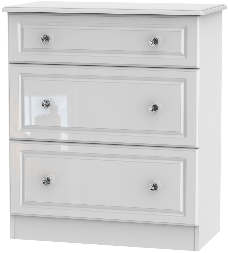 Clearance - Balmoral High Gloss White 3 Drawer Deep Chest - New - FS1025