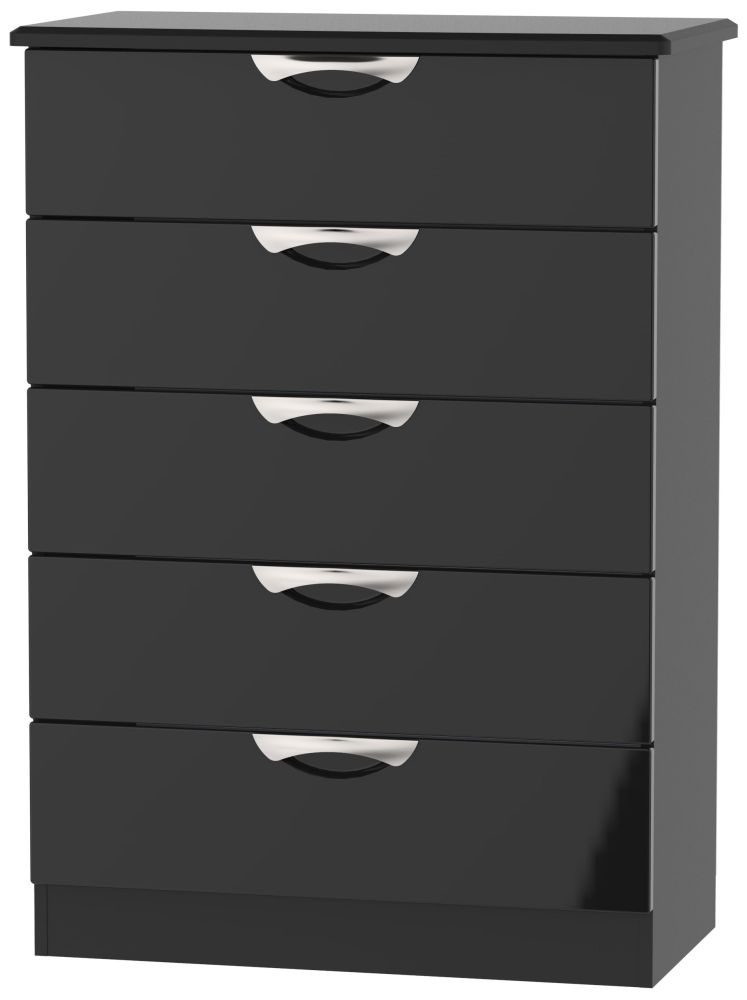 Clearance - Camden High Gloss Black 5 Drawer Chest - New - FS1130