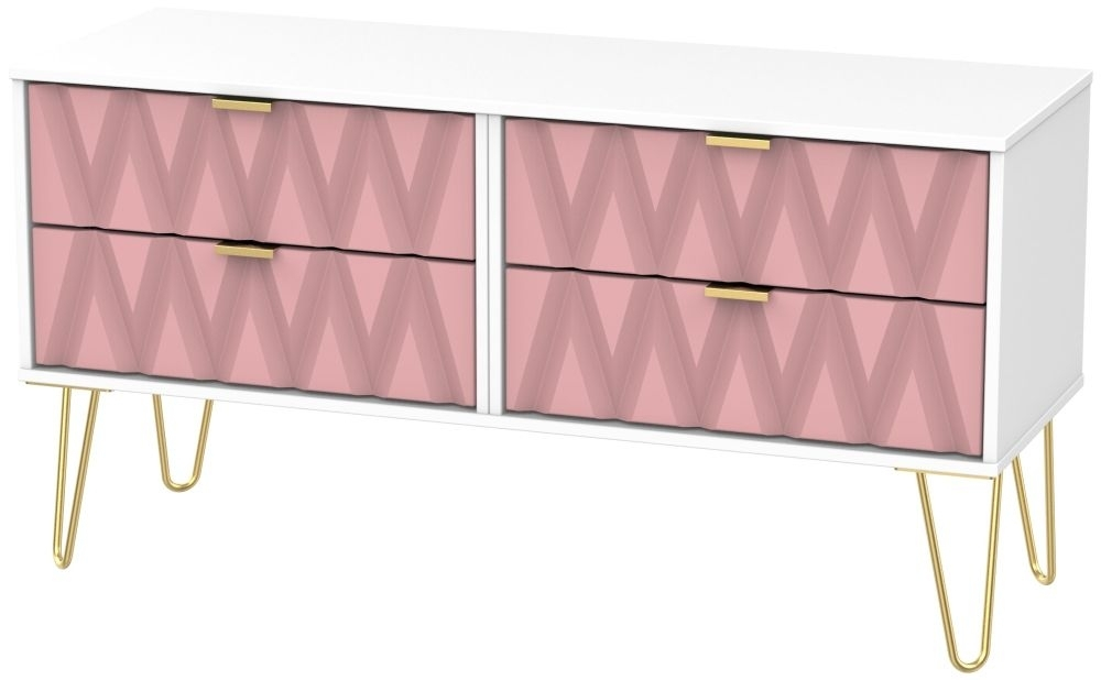 Clearance - Diamond Bed Box with Hairpin Legs - Kobe Pink and White - New - FS1139