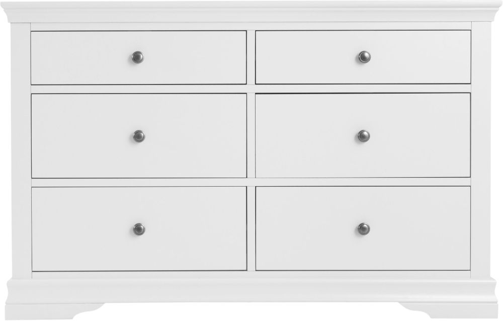 Clearance - Chantilly White Painted 6 Drawer Chest - New - FSS8905