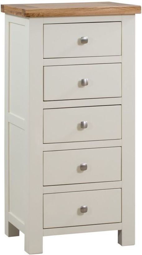 Clearance - Dorset Ivory Painted 5 Drawer Tall Chest - New - FSS8911