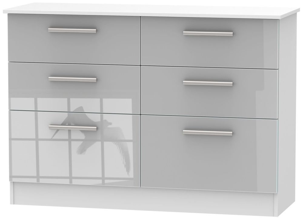 Clearance - Contrast 6 Drawer Midi Chest - High Gloss Grey and White - New - FSS8982