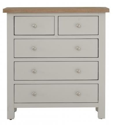 Clearance - Vancouver Compact 2+3 Drawer Chest - Oak and Light Grey - New - FSS9068