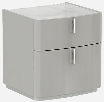 Clearance - Sabron Cashmere High Gloss 2 Drawer Bedside Cabinet with Marble Effect Glass Top - New - E-626