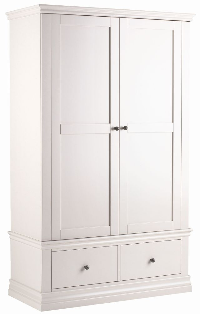 Clearance - Corndell Annecy White Painted 2 Door 2 Drawer Wardrobe - New - E-667