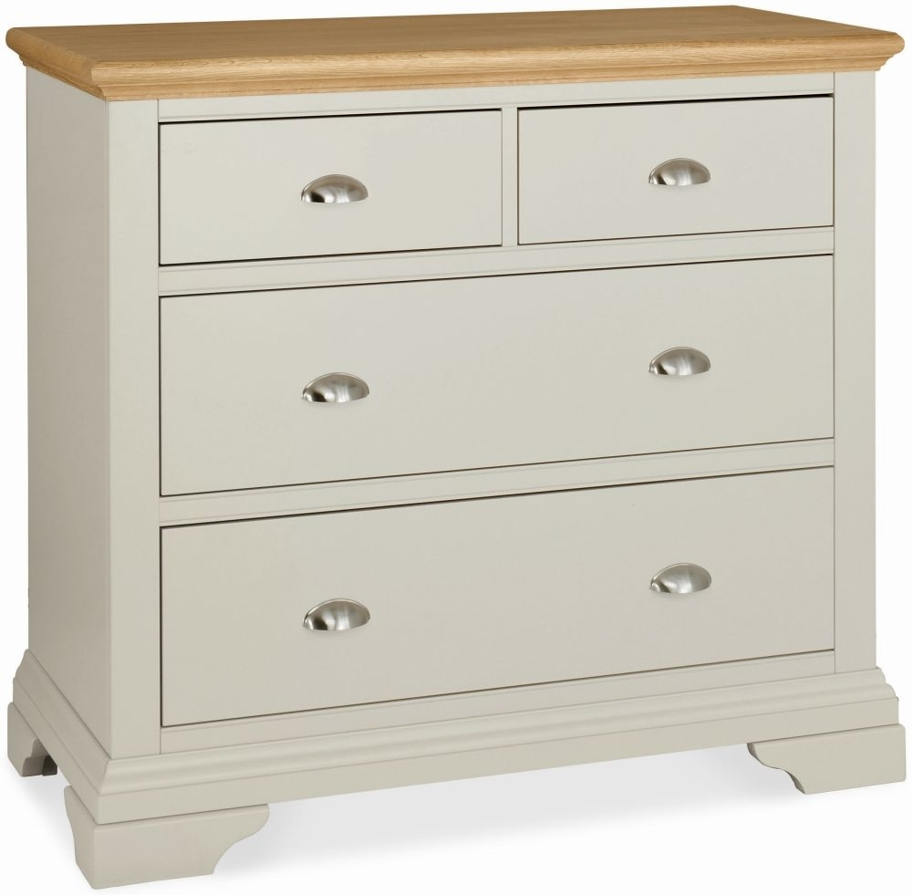 Clearance Bentley Designs Hampstead Soft Grey and Oak Chest of Drawer - 2+2 Drawer - 3021