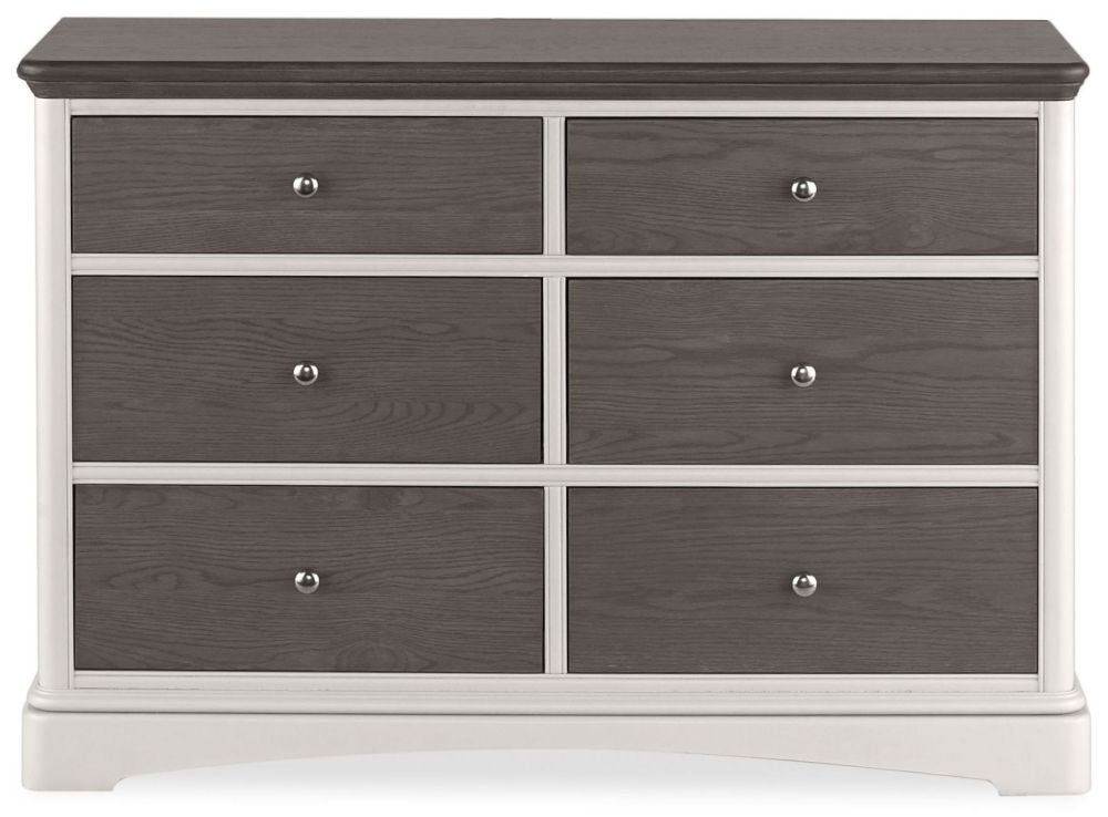 Clearance Bentley Designs Hampton Soft Grey and Weathered Oak Chest of Drawer - 6 Drawer Wide - C77