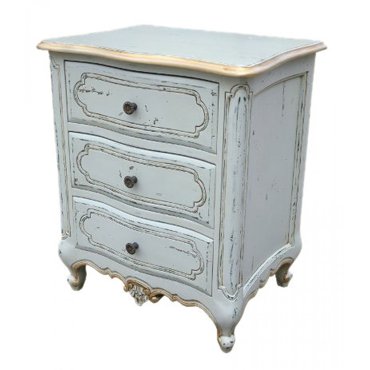 Clearance Boudoir Eleanore French Aquitaine Blue Bedside Cabinet - A110