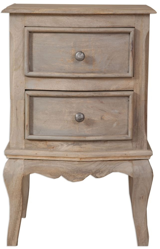 Clearance Calais French Style Lime Washed Bedside Cabinet - 2 Drawer - W39