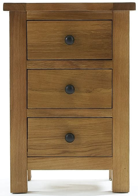 Clearance Canterbury Oak Bedside Cabinet - 3 Drawer - A65