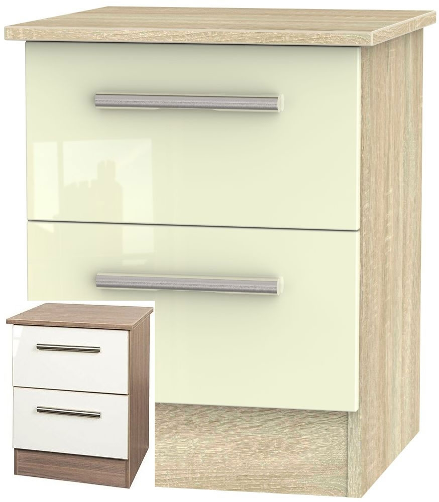 Contrast High Gloss Cream and Toronto Walnut 2 Drawer Locker Bedside Cabinet - CL-1062